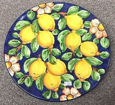Vietri Pottery-12 Inch Plate With Lemons.Made/Painted by hand in Italy