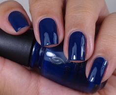 China Glaze: ☆ One Track Mind ☆ ... a navy BLUE creme nail polish from the China Glaze ALL Aboard Fall Collection 2014