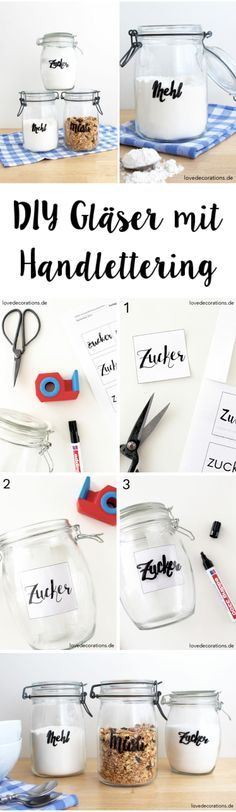 DIY Gläser mit Handlettering beschriften                                                                                                                                                                                 Mehr