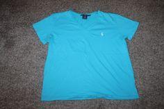 Ralph Lauren Sport S/ S V Neck Womens Blue T Shirt Tee W/ White Logo Sz X Large…