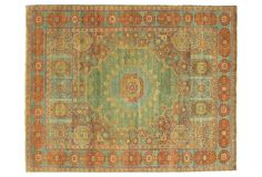 Hand-knotted from plush New Zealand wool, this rug was crafted with vegetable dyes boasting a low pile height, mimicking the timeworn elegance of 100 year-old Serapi rugs. A gorgeous foundation...