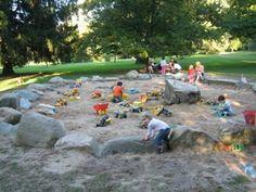 Marquand Park Sandpit, Princeton New Jersey | Playscapes. Sandpit using natural rock