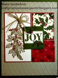 Crafty Maria's Stamping World: Peaceful Wreath - Joy - Try Stampin' on Tuesday #241