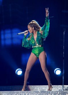 Jennifer Lopez performing during her 'Jenny in the Park' concert. Styled by Rob & Mariel.