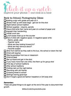 list of photo ideas