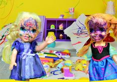Anna and Elsa Toddlers Messy Day Coloring and Scribbling their faces Sho...
