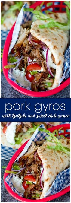 Pork Gyros with Tzatziki and Sweet Chili Sauce – This recipe for pork gyros is a…  Pork Gyros with Tzatziki and Sweet Chili Sauce – This recipe for pork gyros is a keeper – one taste and you'll be hooked! More  http://www.foodanddrink.space/2017/06/09/pork-gyros-with-tzatziki-and-sweet-chili-sauce-this-recipe-for-pork-gyros-is-a/