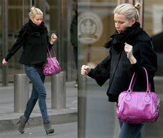 Fashion Inspiration is from Gwyneth Paltrow... Skinny jeans, booties, cozy jacket & a pop of color with the purse. Would you wear it? #MaurasFashionInspiration