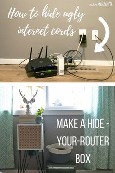How To Hide Router Cords With A Mid-Century Side Table - Cords are a huge eye sore, right? If you're looking for a simple way to hide cords, this one's for you. Here's how to hide router cords with a mid-century side table.