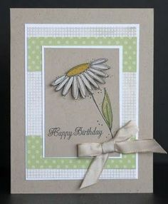 handmade birthday card from Scrappin' and Stampin' in GJ ... like the classic look with layered rectangles ... sweet daisy ... gray with soft green and white ... | http://handmadetortillas.blogspot.com
