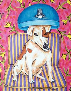 jack russell at the salon picture animal 11x14 dog art print giclee gift