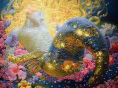 """Sleeping Mermaid Art by Russian-American artist Victor Nizovtsev Fantasy Landscape, Fantasy Art, Victor Nizovtsev, Magic Realism, Mermaids And Mermen, Fantasy Mermaids, Real Mermaids, Mosaic Diy, Art Moderne"