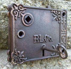 Vintage Victorian Door Lock and Key by OkawValleyBirdhouses