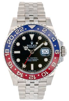 Rolex Steel GMT-Master II 40 Watch - Blue And Red Pepsi Bezel - Black Dial - Jubilee Bracelet stainless steel case with Oystersteel monobloc middle case, s Rolex Gmt Master, Time Zones, Stainless Steel Case, Rolex Watches, Red And Blue, Accessories, Black, Red And Teal, Black People