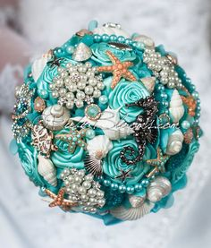 "Bridal Brooch Bouquet. Deposit on ""Aqua Ash Breeze"" Seahorse Coral Turquoise Blue Beach Wedding Broach Bouquet by Ruby Blooms Wedding by Rubybloomscom on Etsy https://www.etsy.com/listing/184340877/bridal-brooch-bouquet-deposit-on-aqua"