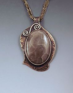 Michigan Petoskey Stone- Smokey Bronze Patina- Michigan Made- State Stone- Fossil- Metal Art Necklace -- Awesome products selected by Anna Churchill
