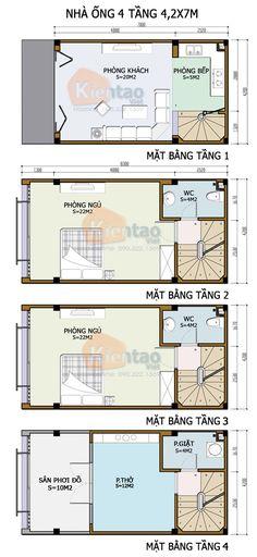 Thiết kế kiến trúc, Nhà ống 4 tầng 4,2x7m, Cách phân bổ công năng nhà ống nhà đẹp
