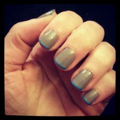 Grey base, blue narrow french tip. Could possibly do with a matte top coat...