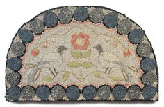 "New England Demilune Hooked Rug - ""'demlune,"" never saw that term before. Wonder why they didn't just say ""half-circle?"""