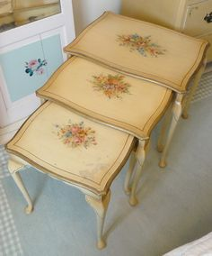1930's decorative floral nest of tables