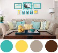 Combinações de cores para salas. Pra quem gosta de um ambiente mais alegre e descontraído, um toque de turquesa e amarelo dá um up em qualquer sala, não é mesmo?: