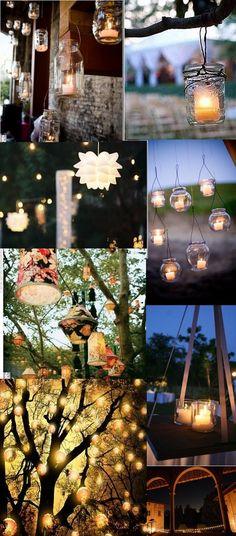 des bougies dans les branches Inspiration : Sunset Wedding