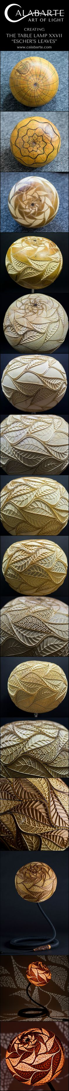 "How gourd became the piece of art. Shots from the process of making the one of a kind table lamp ""Escher's Leaves"" by Calabarte. ___________ #calabarte #mcescher #escher #gourdlamp #tablelamp #lampdesign #workinprogress #spiraldesign #geometry #geometricaldesign #leaves #leavesdesign"