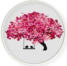 DESCARGAR INSTANT, shippingCounted gratis punto de Cruz PDF, beso de amor aves en el árbol de corazón, día de San Valentín, boda, zxxc0597