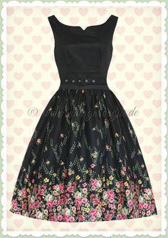 Lindy Bop 50er Jahre Rockabilly Petticoat Blumen Kleid - Delta - Schwarz