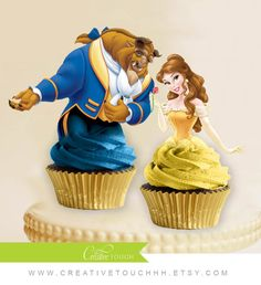Beauty and the Beast Cupcake Toppers | CatchMyParty.com
