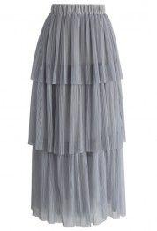 Tiers of Joy Mesh Maxi Skirt in Grey