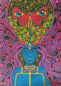 Painting Inspiration, Art Inspo, Photowall Ideas, Psy Art, Art Brut, Hippie Art, Visionary Art, Psychedelic Art, Aesthetic Art