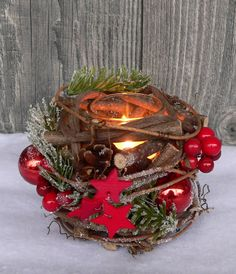 Holzkranz Tischdeko Windlicht Advent Adventskranz Weihnachten Holz Glas rot grün