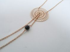 Helios Necklace in 14K Gold Fill and black onyx  Available at:  www.oncefound.co.uk