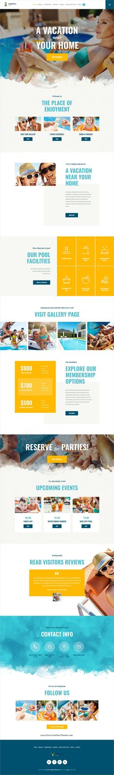 Playa is clean and modern design 3in1 responsive WordPress theme for city #beach, summer #resort, water park and pool club awesome website download now #webdesign