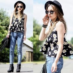 Oasap Cute Daisy Top, Romwe Black Heart Shaped Frame Sunglasses, Primark Jeans, H&M Hat