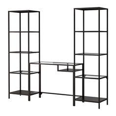 VITTSJÖ Estantería+módulo portátil IKEA El metal y el vidrio templado son materiales resistentes que aportan sensación de amplitud y ligereza.