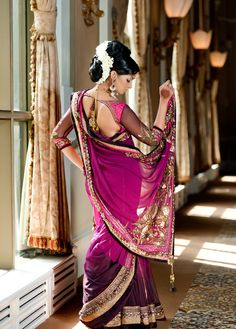 Stunning Pink & Black Ombre Sari with Gold Embroidery - Gorgeous!
