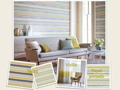 Salón decorado con rayas horizontales - Villalba Interiorismo
