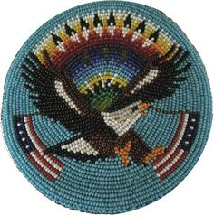 Native American Paiute or Shoshone Beaded Eagle and Flags Belt Buckle Large