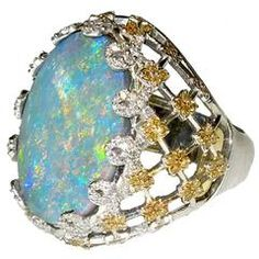 Stambolian Australian Color-Changing Fiery Opal Diamond Gold Ring
