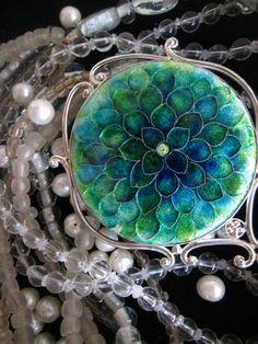 flower cloisonne - brooch? pendant?