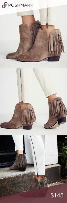 Free People Gallery Fringe Boot Leather Matiko 38 NWB.  Sold out everywhere.  Size 38.  Fits size 7.5-8.  Gorgeous tan Suede. Free People Shoes Ankle Boots & Booties