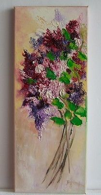 Lilacs Impressionist Original Oil Painting IMPASTO Flower Bouquet Europe Artist in Art, Direct from the Artist, Paintings | eBay