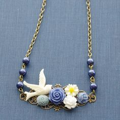 Ivory Bridal Necklace, Something Blue Necklace, Flower Collage Necklace, Blue Rose Pearls Flower Necklace, Rustic Wedding, Peace Dove Gift by SmittenKittenKendall on Etsy