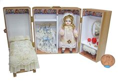 Dollhouse Miniature Antique Reproduction Doll with Trunk by Pat Boldt | eBay
