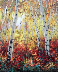 Aspen Art and Birch Tree Paintings and Art Prints by Jennifer Vranes
