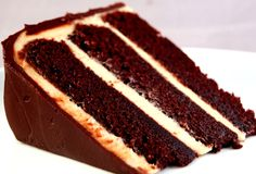 Chocolate cake, peanut butter frosting, and chocolate ganache