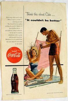 Vintage Original 1954 Coke COCA COLA Ad 'It couldn't by akaytees, $7.50