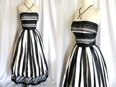 Vintage Victor Costa Gown - Black and White Strapless Dress with Lace $138 on etsy
